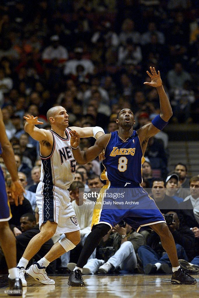 10dab6a2a62 New Jersey Nets  Jason Kidd guards Los Angeles Lakers  Kobe   News Photo