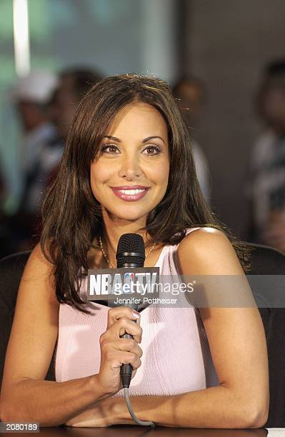 New Jersey Nets Jason Kidd's wife Joumana Kidd hosts a broadcast covering game two of the 2003 NBA Finals between the San Antonio Spurs and the New...