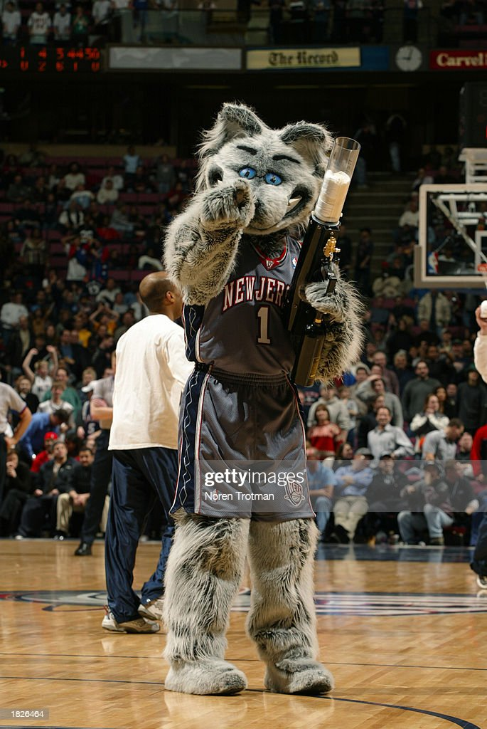 super popular 057dc 9ca00 New Jersey Nets mascot, Sly the Silver Fox, entertains the ...