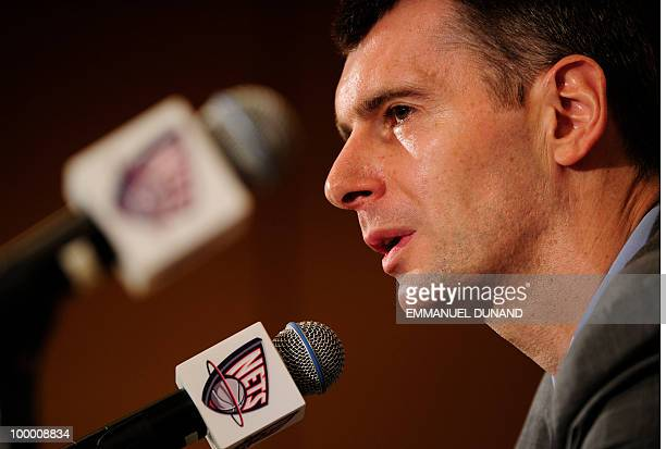 New Jersey Nets new owner Russian billionaire Mikhail Prokhorov addresses a press conference on May 19 2010 in New York Russia's richest man agreed...
