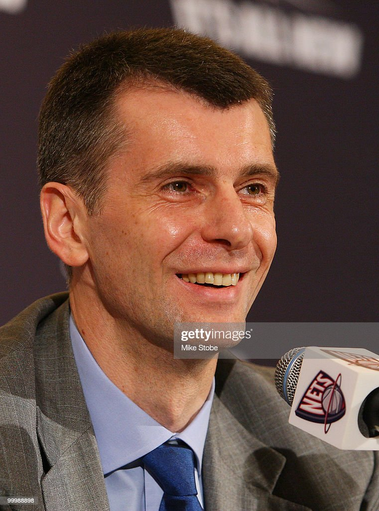 New Jersey Nets Owner Mikhail Prokhorov addresses the media during a press conference at the Four Seasons Hotel on May 19, 2010 in New York City.