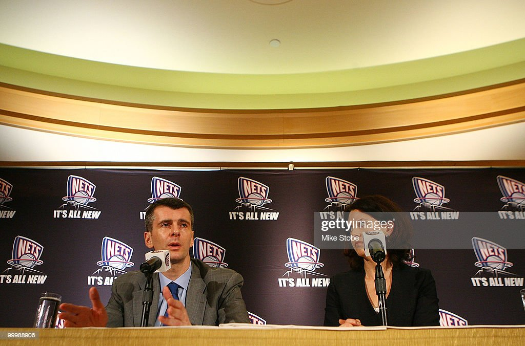 New Jersey Nets Owner Mikhail Prokhorov and Communication Director Ellen Pinchuk addess the media during a press conference at the Four Seasons Hotel on May 19, 2010 in New York City.