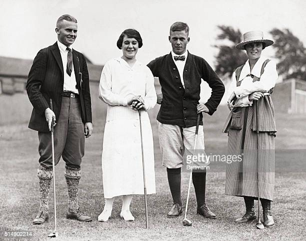 Perry Adair Elaine Rosenthal Bobby Jones and Alexia Sterling pose during golf tourney for benefit of American Red Cross Montclair New Jersey 7/17