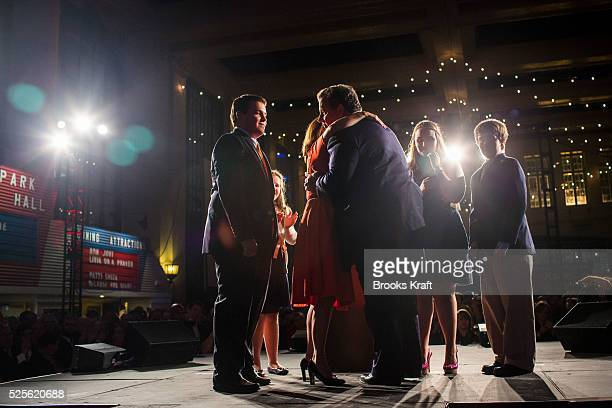 New Jersey Republican Governor Chris Christie celebrates his reelection with his family in Asbury Park NJ