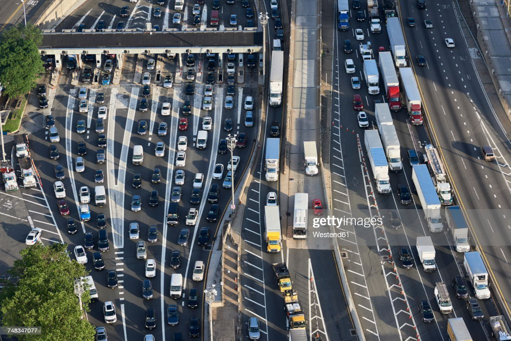 USA, New Jersey, rush hour traffic at Fort Lee in the morning, aerial view : Stock Photo