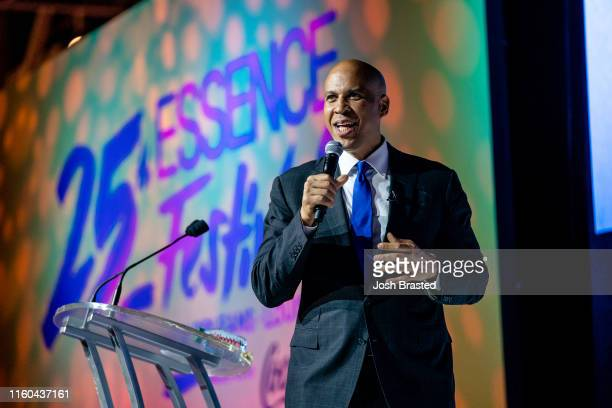 New Jersey Senator Cory Booker speaks at the 25th Essence Festival at Ernest N Morial Convention Center on July 06 2019 in New Orleans Louisiana