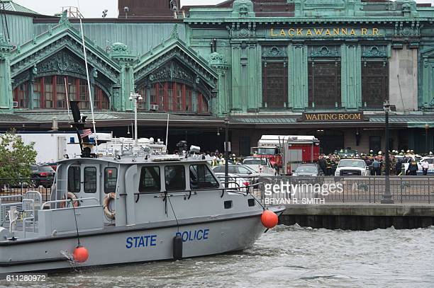 A New Jersey State Police boat is on the scene as multiple people were injured in a train crash at the Hoboken Train Terminal on September 29 2016 in...