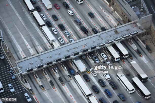 usa, new jersey, traffic entering new york city via the lincoln tunnel, aerial view - lincoln tunnel stock photos and pictures