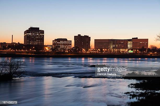 usa, new jersey, trenton, cityscape at night - trenton new jersey stock photos and pictures