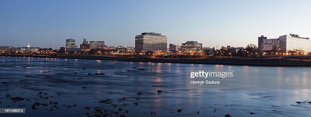 USA, New Jersey, Trenton, Cityscape at night : Stock Photo