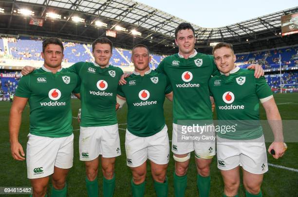 New Jersey United States 10 June 2017 Ireland debutants from left Dave Heffernan Jacob Stockdale Andrew Porter James Ryan and Rory Scannell following...
