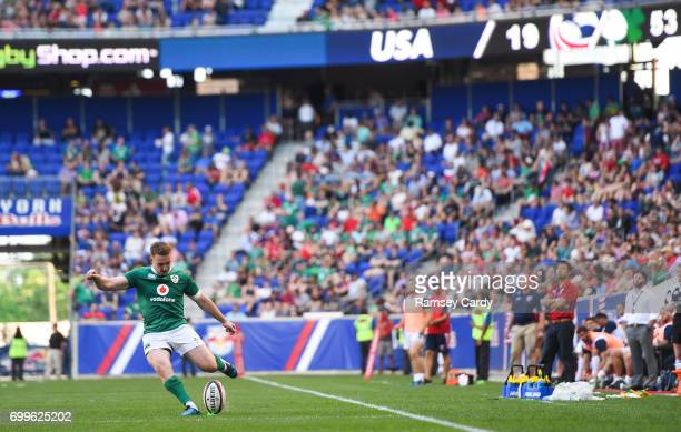 New Jersey United States 10 June 2017 Rory Scannell of Ireland kicks a conversion during the international match between Ireland and USA at the Red...
