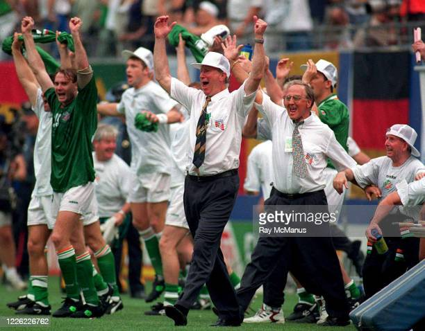 New Jersey , United States - 18 June 1994; Republic of Ireland manager Jack Charlton celebrates his side's victory following the FIFA World Cup 1994...