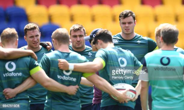 New Jersey United States 9 June 2017 Ireland players from left Rory O'Loughlin Niall Scannell and James Ryan listen to instructions during their...