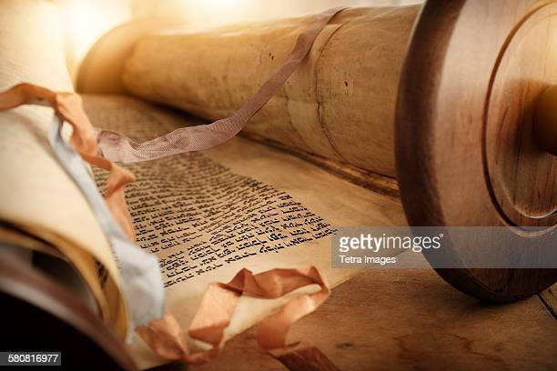 usa, new jersey, view of torah scroll - torah stock pictures, royalty-free photos & images