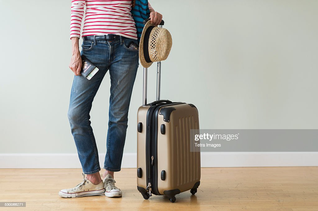 USA, New Jersey, Woman ready to go on vacations : Foto stock