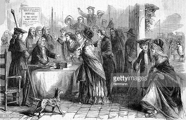 Women voting in New Jersey toward the close of the 18th century Undated engraving