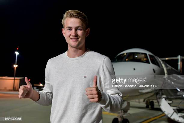 New Juventus signing Matthijs de Ligt arrives in Turin on July 16 2019 in Turin Italy