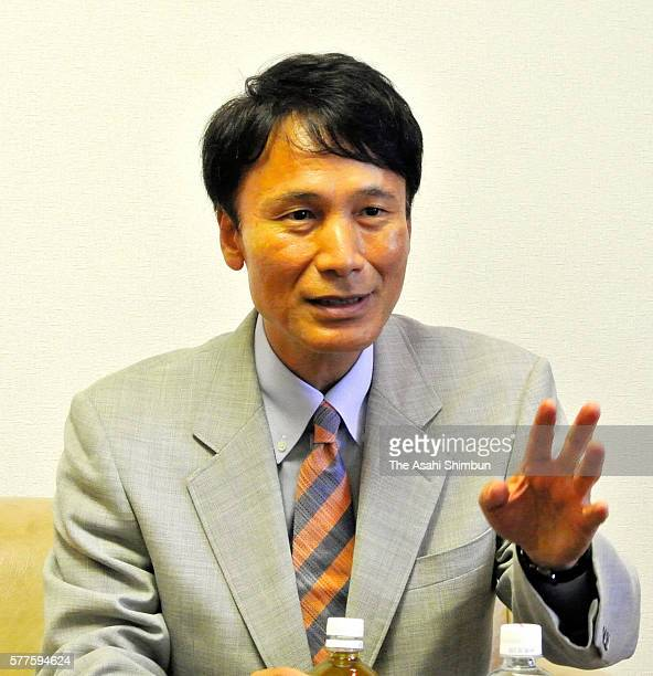 New Kagoshima Prefecture Govornor Satoshi Mitazono speaks during the Asahi Shimbun interview on July 19 2016 in Kagoshima Japan