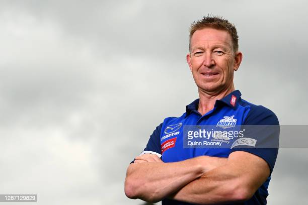 New Kangaroos coach David Noble poses during a North Melbourne Kangaroos AFL media opportunity at Arden Street Ground on November 23, 2020 in...