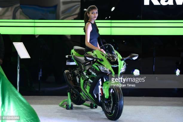 New Kawasaki Ninja H2 SX bike on display during Auto Expo 2018 motor show at the India Expo Mart on February 7 2018 in Greater Noida India The Expo...