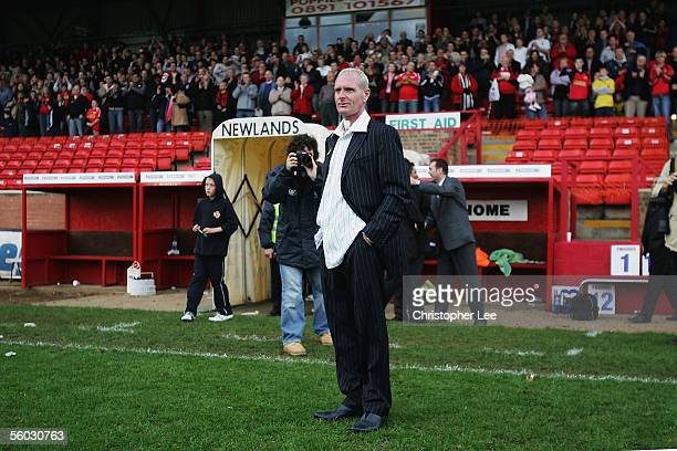 New Kettering manager Paul Gascoigne waits for his players after they win the Nationwide Conference North match between Kettering Town and Droylsden...