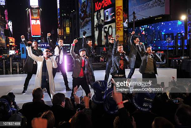 New Kids on the Block and Backstreet Boys perform at Dick Clark's New Year's Rockin' Eve with Ryan Seacrest 2011 in Times Square on December 31 2010...