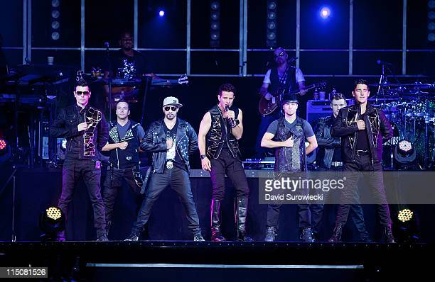 New Kids On The Block and the Backstreet Boys perform together at Mohegan Sun Arena on June 2 2011 in Uncasville Connecticut From left to right are...