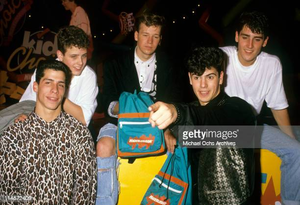 New Kids On The Block Danny Wood Joey McIntyre Donnie Wahlberg Jordan Knight and Jonathan Knightat the Nickelodeon Kids Choice Awards June 25 1989