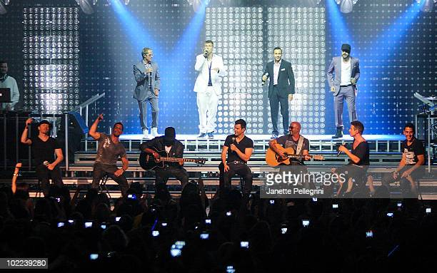 New Kids On The Block Donnie Wahlberg Danny Wood Jordan Knight Joey McIntyre and Jonathan Knight with special guests Backstreet Boys top LR Brian...
