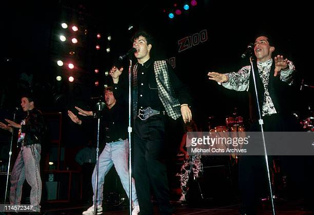 New Kids On The Block Joey McIntyre Jonathan Knight Jordan Knight and Danny Wood performing circa 1990