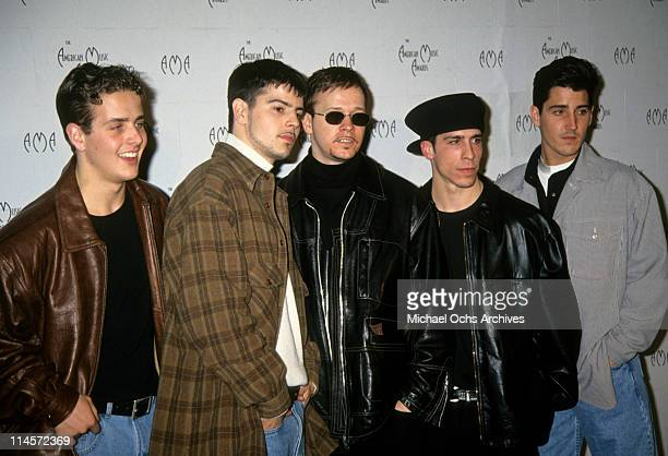 New Kids On The Block Joey McIntyre Jordan Knight Donnie Wahlberg Danny Wood and Jonathan Knight at the 21st Annual American Music Awards February 27...