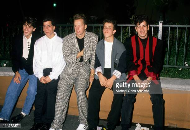 New Kids On The Block Jonathan Knight Danny Wood Donnie Wahlberg Joey McIntyre and Jordan Knight circa 1990
