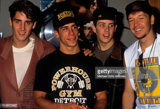 New Kids On The Block Jonathan Knight Danny Wood Joey McIntyre and Donnie Wahlberg circa 1990