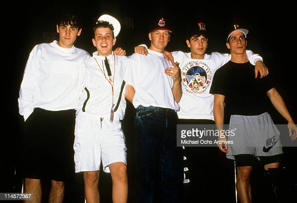 New Kids On The Block Jonathan Knight Joey McIntyre Donnie Wahlberg Jordan Knight and Danny Wood circa 1990