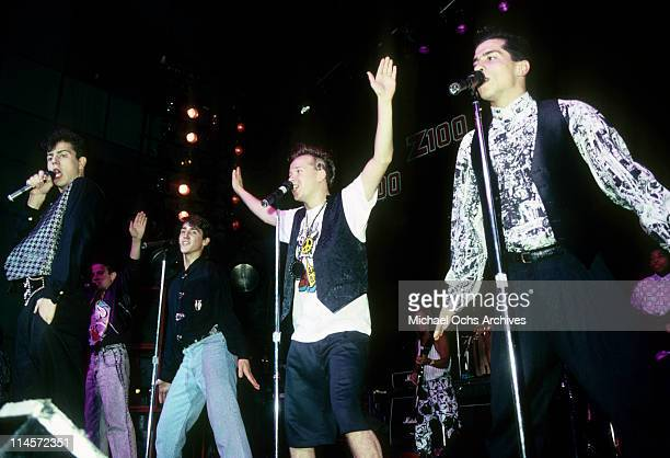 New Kids On The Block Jordan Knight Joey McIntyre Jonathan Knight Donnie Wahlberg and Danny Wood performing circa 1990