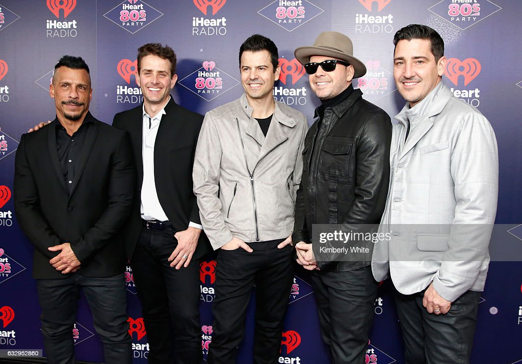 New Kids on the Block members Danny Wood, Joey McIntyre, Jordan Knight, Donnie Wahlberg and Jonathan Knight attend the iHeart80s Party 2017 at SAP Center on January 28, 2017 in San Jose, California.