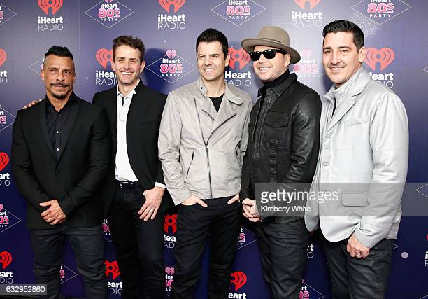 New Kids on the Block members Danny Wood Joey McIntyre Jordan Knight Donnie Wahlberg and Jonathan Knight attend the iHeart80s Party 2017 at SAP...