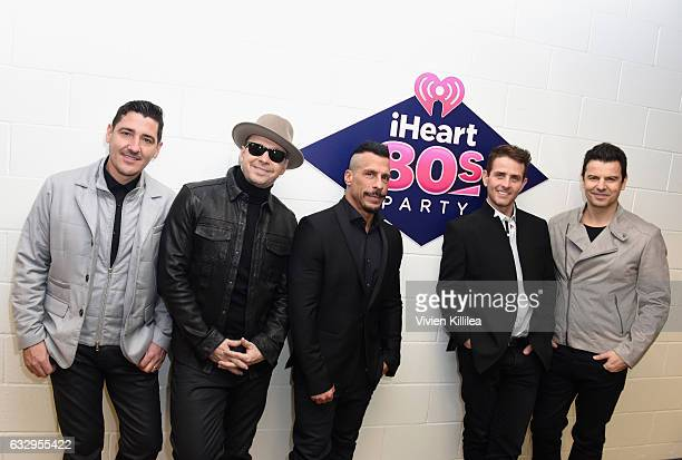 New Kids on the Block members Jonathan Knight Donnie Wahlberg Danny Wood Joey McIntyre and Jordan Knight attend the iHeart80s Party 2017 at SAP...