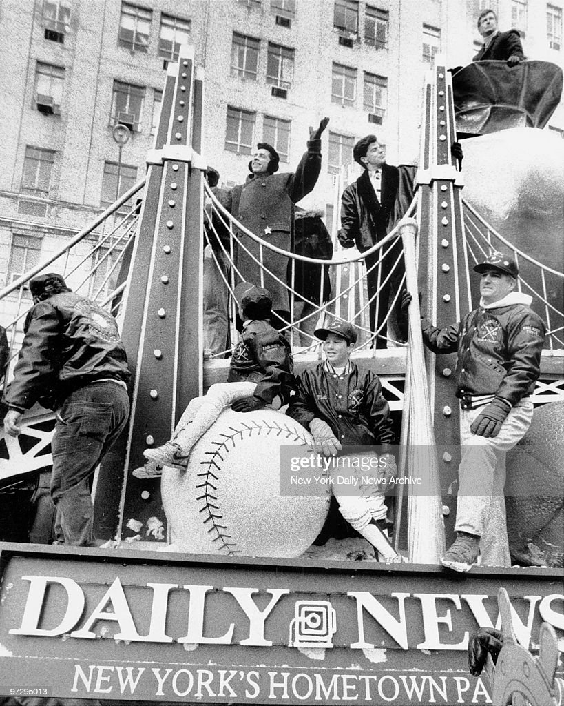 New Kids on the Block on Daily News float in the Macy's Than : News Photo