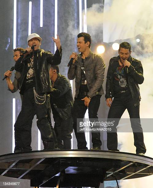 New Kids on the Block perform onstage at the 2010 American Music Awards at Nokia Theatre LA Live on November 21 2010 in Los Angeles California