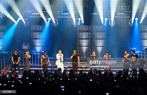 New Kids On The Block performs with special guests Backstreet Boys Donnie Wahlberg Brian Littrell Danny Wood Nick Carter Jordan Knight Howie Dorough...