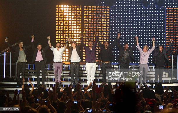 New Kids On The Block performs with special guests Backstreet Boys Joey McIntyre Howie Dorough AJ McLean Donnie Wahlberg Nick Carter Jordan Knight...