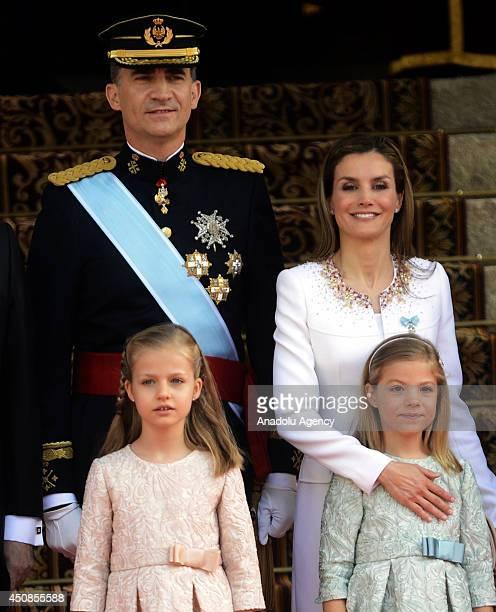 New king Felipe VI, Queen Letizia of Spain, Princess Sofia and Princess Leonor pose prior to the swearing-in ceremony of Spain's new king Felipe VI...