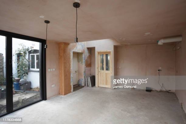 new kitchen and diner extension interior. built onto the side of a listed historic building. - renovation stock pictures, royalty-free photos & images