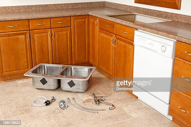 new kitchen sink installation kitchen sink plumbing fittings stock photos and pictures 3513