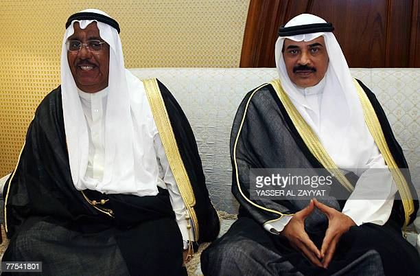 New Kuwaiti Interior Minister Sheikh Jaber alKhaled alSabah and the new Information Minister Sheikh Sabah alKhalid alSabah attend a dinner reception...