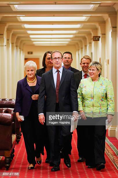 New Labour leader Andrew Little emerges from his office flanked by Party President Moira Coatsworth and interim leader Annette King prior to a press...
