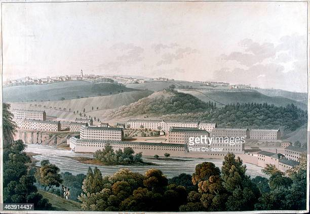 New Lanark Mills, Scotland, c1815. Robert Owen's model community of cotton mills and housing. Educational facilities were provided, as well as the...