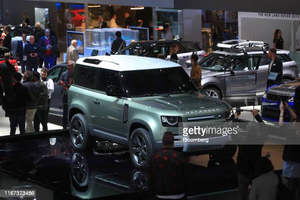 New Land Rover Defender sports utility vehicle, manufactured by Jaguar Land Rover Plc, sits on display during day two of the IAA Frankfurt Motor Show...